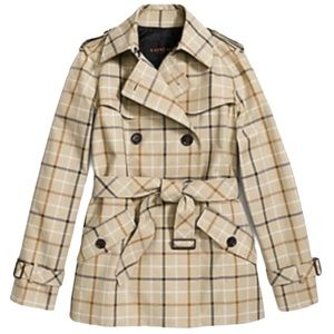Coach Plaid Beige Trench Coat Size S